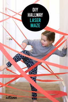 This DIY hallway laser maze is a fun, easy activity to set up for your kids. Perfect for rainy days! Learn how easy it is to make a DIY laser maze in your hallway for tons of indoor fun! It's cheap and easy to set up and will keep kids busy on rainy days. Rainy Day Activities For Kids, Mazes For Kids, Rainy Day Crafts, Indoor Activities For Kids, Games For Teens, Fun Activities, Kid Games, Outdoor Activities, Activity Days