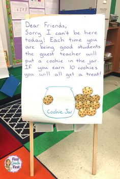 Sub Plans Grade Cookie Themed Teachers, looking for easy to prep sub plans for first grade so you can take a sick day? Check out this link for a full day of emergency sub plans with a cookie theme. Awesome writing, reading, math, and science worksheets First Grade Classroom, Classroom Behavior, Future Classroom, Classroom Activities, Classroom Job Chart, Year 1 Classroom, Classroom Community, Learning Activities, Elementary Teacher