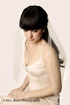 White Elbow Length Bridal Veil - Hair Accessory