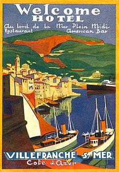 Vintage luggage label - South of France, Villefranche sur Mer Vintage Poster, Vintage Travel Posters, Villefranche Sur Mer, Vintage Hotels, Luggage Labels, Vintage Luggage, Monaco, Poster Ads, South Of France