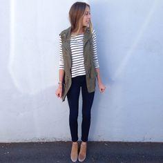 Stripes / green vest / joe jeans / Sam Edelman boots
