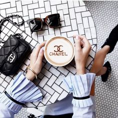 Coffee with Chanel. Coffee Is Life, Coffee Art, Coffee Time, Coffee Break, Coffee Lovers, Morning Coffee, Coffee Cups, Estilo Fashion, Fashion Mode