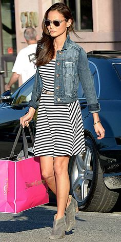 Navy & White Striped Dress with a Cropped Denim Jacket. Add gladiator sandals and turn this from spring to summer.