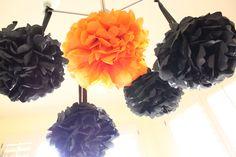 Black and orange Halloween pom poms
