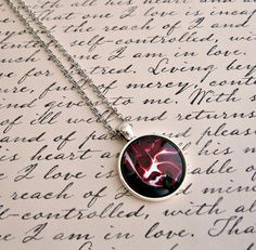 Mars pendant Glass dome cabochon Necklace by GnosisCraftsandGifts