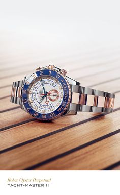 Rolex Yacht-Master II 44 mm in 904L steel and Everose gold with a rotatable graduated bezel, white dial and Oyster bracelet. #Yachting #RolexOfficial