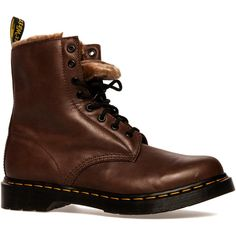 Dr. Martens The Serena Boot with Faux Fur Lining in Brown (52 NZD) ❤ liked on Polyvore featuring shoes, boots, ankle booties, ankle boots, botas, footwear, brown, lace-up ankle booties, low heel booties and lace-up ankle boots