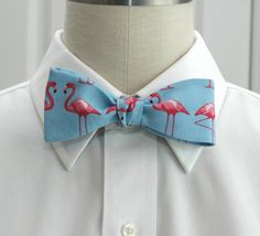 Men's Bow Tie in blue with pink flamingos by CCADesign on Etsy, $30.00