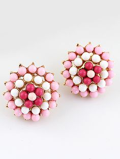 Pink Bead Flower Gold Stud Earrings $6.26