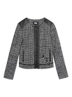 Tweed preto e branco com fitado com detalhes em couro, zíper aparente e patches Karl - Visite Riachuelo.com.br