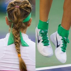 #details #victoriaazarenka #plait #tennisshoes #hightopshoes #nike #green #niketennis #BNPPO16