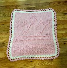 Items similar to Sweet Crocheted Princess tiara Baby Girl Car Seat Blanket on Etsy