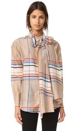Suno Plaid Tie Neck Shirt - Cream/Blue Plaid