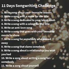 Songwriting Challenge Created these prompts for 11 Days Songwriting Challenge Writing Lyrics, Music Writing, Writing Promps, Writing Words, Creative Writing, Learn Singing, Singing Lessons, Singing Tips, Song Challenge