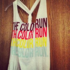 It's gonna be hot tomorrow so I modified my Color Run tshirt! From this tutorial: http://blogilates.com/printables-2/diy-racerback-workout-shirt-tutorial