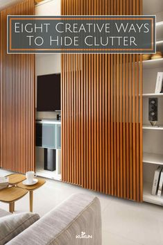 Eight Creative Ways To Hide Clutter [Wood Panel Walls, Living Room Ideas, Clutter Organization, Clutter Free Home, Built In Shelves, Small Coffee Table, Storage Solutions, Minimalist Living Room]