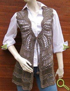 My Michelle Sleeveless Embroidery Crochet - Ufrock Crochet Vest Pattern, Crochet Coat, Jacket Pattern, Crochet Cardigan, Cute Crochet, Beautiful Crochet, Crochet Clothes, Hairpin Lace Crochet, Freeform Crochet