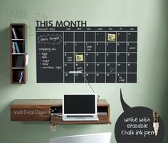 Daily Chalkboard Decal Wall Calendar Memo- Words Wall Decal Wall Sticker. $62.00, via Etsy.
