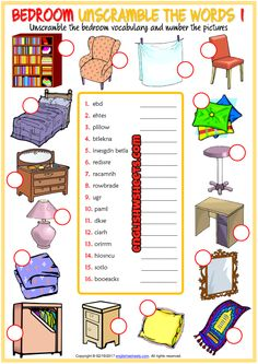 Bedroom Unscramble the Words ESL Worksheets For Kids