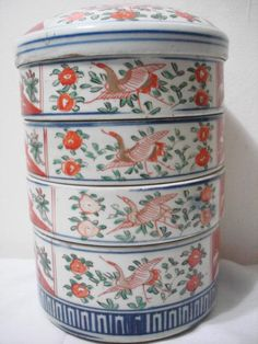 Vintage Late 19th-20th C Japanese Imari Stacking Boxes / Lunch Boxes - Marked | eBay