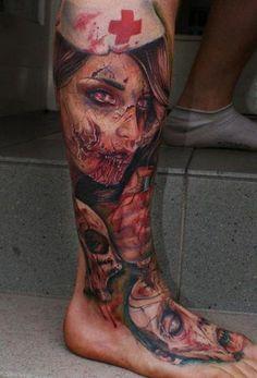 Zombie nurse tattoo by Mario Hartmann. Zombie Tattoos, 3d Tattoos, Great Tattoos, Life Tattoos, Beautiful Tattoos, Body Art Tattoos, Tattoos For Guys, Nurse Tattoos, Tatoos
