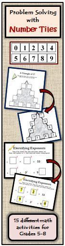 Number Tiles is a 26 page math booklet containing 15 different hands-on math problem solving activities for grades 5-8 that range from addition and multiplication, to primes and composites, to exponent problems, to using the divisibility rules. Students solve the Number Tile Activities by arranging ten number tiles, numbered 0-9. Since the students have the freedom to move the tiles around, they are more engaged and more willing to try multiple methods to find the solution. Critical Thinking Activities, Problem Solving Activities, Fun Learning, Hands On Activities, Math Activities, Divisibility Rules, Secondary Math, Math Practices, Eighth Grade