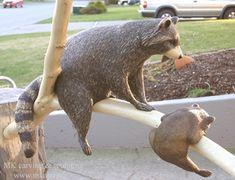 "Title: ""Raccoons on branch #2""   Material: Yellow cedar, Red cedar  Size of mom: WxHxD: 12""x 26""x 12""  (30cm x 68cm x 30cm)"