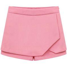 Blackfive Loose Mid Rise Chiffon Skorts ($23) ❤ liked on Polyvore featuring skirts, mini skirts, shorts, bottoms, skort, pink mini skirt, pink chiffon skirt, chiffon skirt, golf skirts and pink skirt