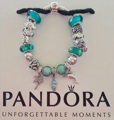 Pandora Summer Turquoise Sea Star, Sea Turtle,Happy Crab, Palm Tree,Tropical Seahorse, Playful Dolphin, Splish-Splash Deep Blue Topaz,