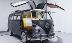 The 1967 Volkswagen Bus/Vanagon Van your see here looks nothing like the Doc Brown's time-traveling DeLorean from Back to the Future, although it is a tribute to the iconic time-traveling car. Vw Camper Bus, Volkswagen Bus, Mini Camper, Minivan, Wolkswagen Van, Vw T1 Samba, Combi T1, Delorean Time Machine, Doc Brown