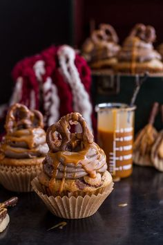 Death By Butterbeer Cupcakes w/Treacle Butter Frosting + Chocolate Covered Pretzels | halfbakedharvest.com