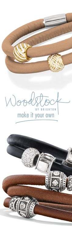 Woodstock by Brighton luxe leather wrap bracelets. #brighoncharms