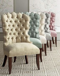 Haute House Isabella Dining Chairs in these beautiful colors. I would mix up all the colors at my dining table to make it interesting. Tufted Dining Chairs, Dining Room Furniture, Home Furniture, Furniture Design, Handmade Furniture, Dining Table, Rustic Furniture, Outdoor Furniture, Dining Room Design