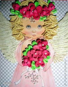 Картина, панно Квиллинг: Маленький ангел Бумажные полосы. Фото 2