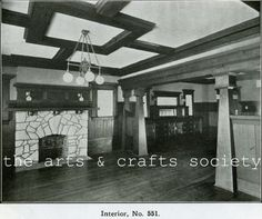Arts and Crafts Bungalow Interior::1910::Living Room/Dining Room Picture