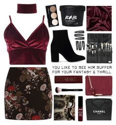 """Untitled #2698"" by tacoxcat ❤ liked on Polyvore featuring Boohoo, Ganni, Gianvito Rossi, New Look, Byredo and Chanel"