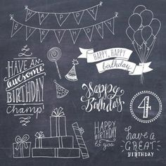Happy Birthday Clip Art Set // Hand Lettering Word Art // Photoshop Brush PSD Vector // DIY Card // Girl Boy Party // Commercial Use - Trend Entertaining Ideas 2019 Chalkboard Paper, Chalkboard Lettering, Chalkboard Designs, Chalkboard Drawings, Chalkboard Ideas, Happy Birthday Clip Art, Birthday Clips, Art Birthday, Happy Birthday Chalkboard