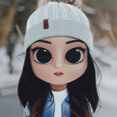 Cartoon, Portrait, Digital Art, Digital Drawing, Digital Painting, Character Design, Drawing, Big Eyes, Cute, Illustration, Art, Girl, Beanie, Snow, Winter, Denim, Jacket
