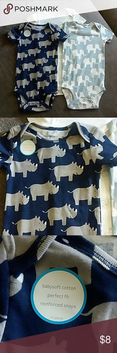 Carter's Animal print onesie 3pcs 12m NWOT Adorable onesies in animal prints. 2 elephant and one rhino. New and unused. I needed to modify a onesie for my cat after surgery and these were left in the set. Carters One Pieces Bodysuits