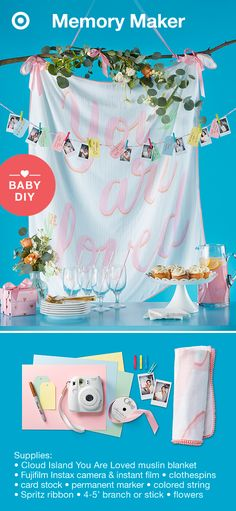 Create the perfect baby shower photo backdrop in 4 easy steps. STEP 1: Use ribbon to tie the top two corners of the blanket to the branch; add a ribbon hanger; tie silk flowers to the branch. STEP 2: Hang the backdrop where guests can pose with their gift. STEP 3: Cut out tags from the card stock for guests to write their message. STEP 4: Hang a string to which guests can clothespin their photo and message. TIP: Have a table set with decorations, a camera, a marker and card stock ready to…