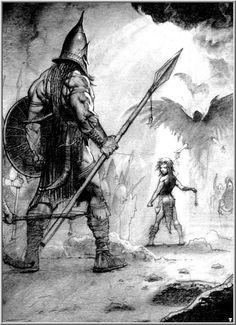 Simon Bisley - David and Goliath Simon Bisley, Bible Illustrations, Illustration Art, David And Goliath, Ligne Claire, Biblical Art, Cool Sketches, Bible Art, Christian Art