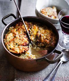 Onion soup / paired with Cabernet Franc