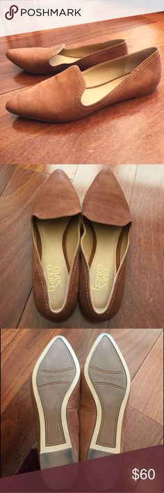 Franco Sarto 'Simona' Flats In great used condition; minimal wear. Franco Sarto 'Simona' Flats in cognac. Pointed toe, slip on style, topstitched detail. Suede upper, manmade sole. Size 7.5. Franco Sarto Shoes Flats & Loafers