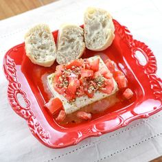 Baked Feta With Tomatoes | A simple and delicious healthy Greek appetizer