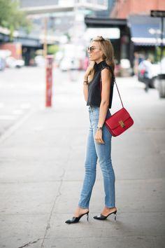 Timur Emek Streetstyle-Denim x Denim-Chanel Mules-Khaite Jeans-Rachel Comey Top-Celine Box Bag