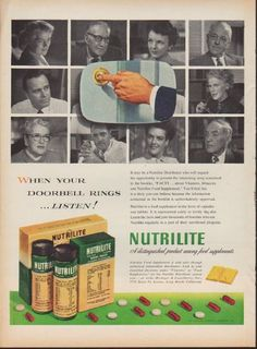 "1953 NUTRILITE vintage print advertisement ""When Your Doorbell Rings"" ~ When Your Doorbell Rings ... Listen! Nutrilite -- A distinguished product among food supplements ~"