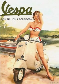 is about the Vespa line of scooters. Vespa is an Italian brand of scooter manufactured by Piaggio. The name means wasp in Italian. The Vespa has evolved from a single model motor scooter manufactured in 1946 by Piaggio . Vespa Vintage, Vintage Ads, Vintage Metal, Pin Up Vintage, Vintage Rock, Vintage Italian, Italian Style, Vintage Signs, French Vintage