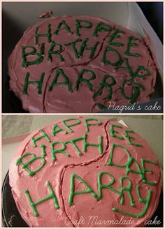 Harry Potter birthday cake - chocolate layer cake and raspberry buttercream. for a harry potter marathon! Harry Potter Marathon, Harry Potter Diy, Harry Potter Torte, Harry Potter Motto Party, Harry Potter Fiesta, Harry Potter Thema, Harry Potter Halloween Party, Harry Potter Birthday Cake, Theme Harry Potter