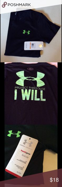 Under Armour Heatgear Black Top Size Small NWT Under Armour Heat-gear short sleeve top. Black/Neon Green. 2nd picture is the back of the top. Size Small NWT Under Armour Tops