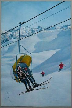 Affiche tourisme ancienne ski le télésiège/chairlift skiing vintage poster 60 s